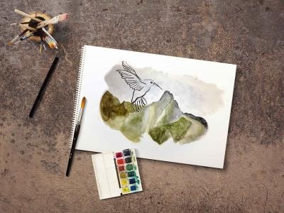 Janina-Lermer-Illustration-Aquarel-Aquarell-Charcoal-2-Jirishanca-Hans-Hornberger