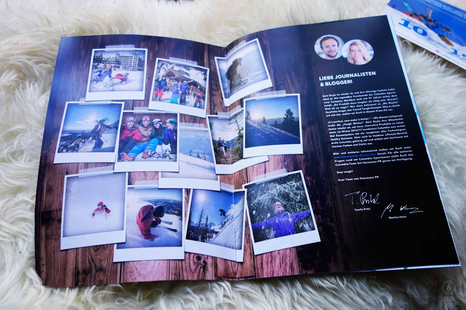 Janina-Lermer-Markenkommunikation-Brand-communication-Columbia-Presskit-Editorialdesing-Innenseiten-Picturewall-Polaroid-Winter-16