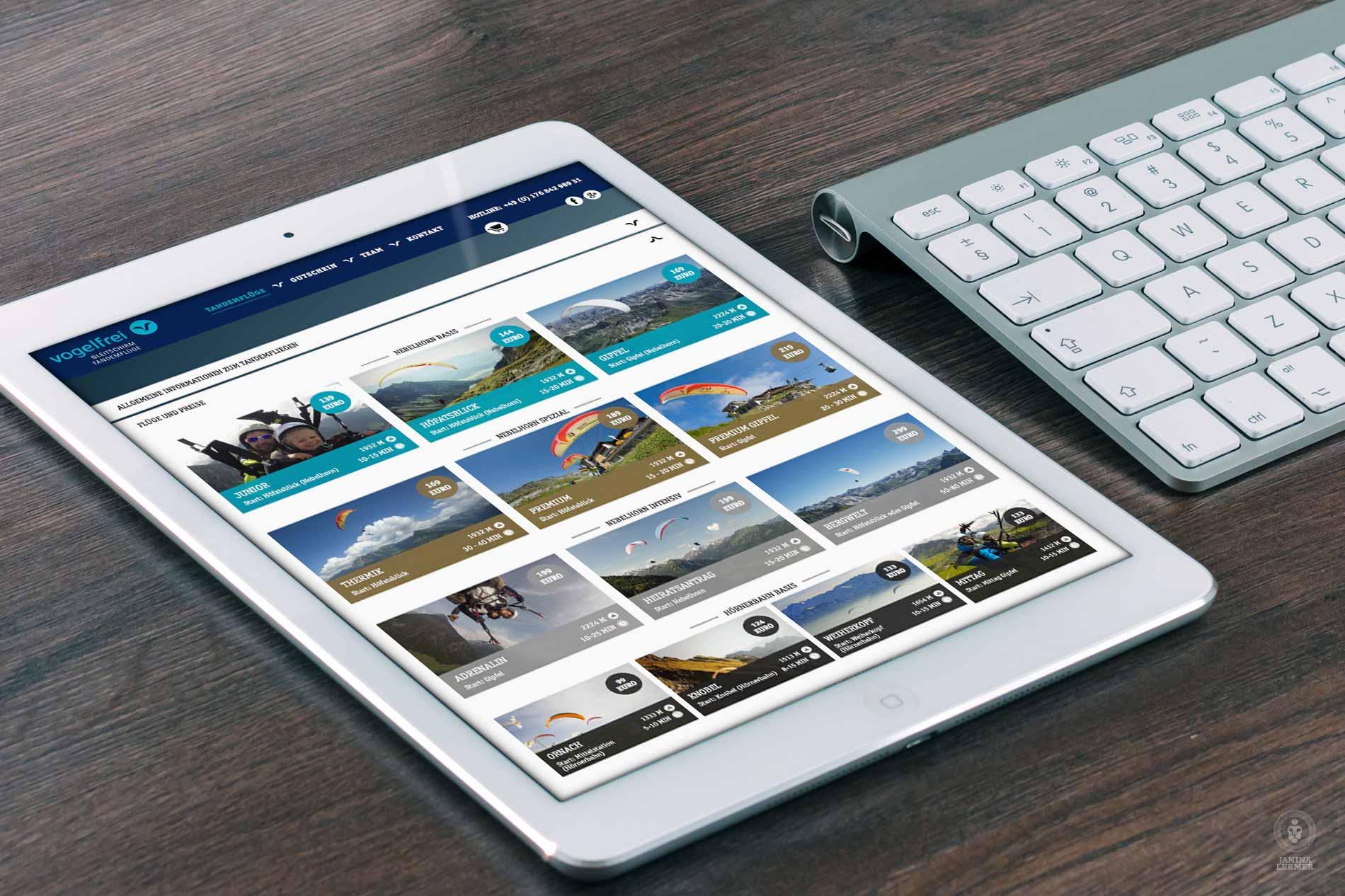 Janina-Lermer-Webseitenkonzept-Webseitengestaltung-Webdesign-Vogelfrei-Tablet-Fluege-Flights