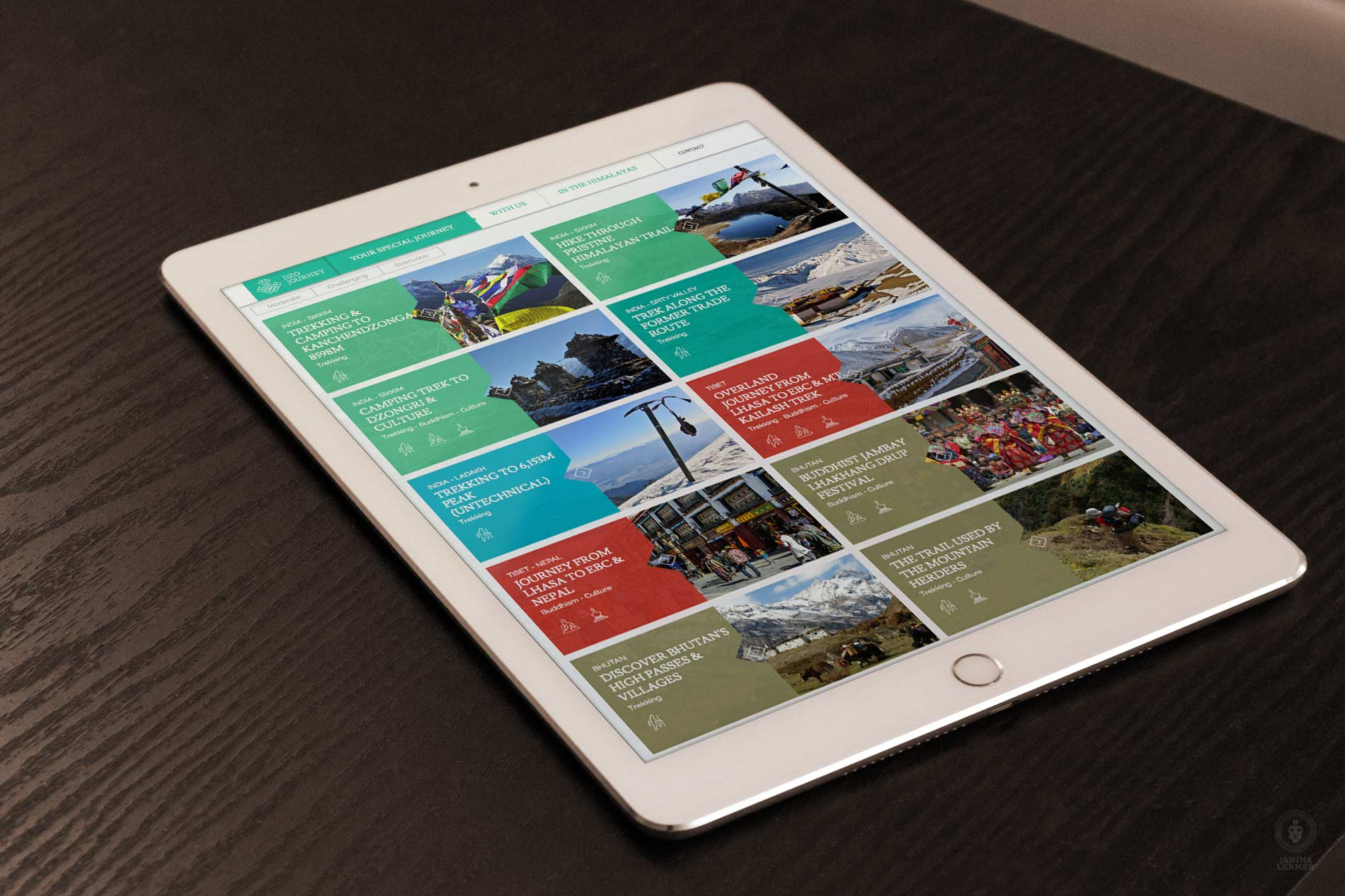 Webseitengestaltung-Webdesign-Travelcompany-Reisefirma-Himalaya-Dzo-Journey-Ipad-Reisen-Travel-Products