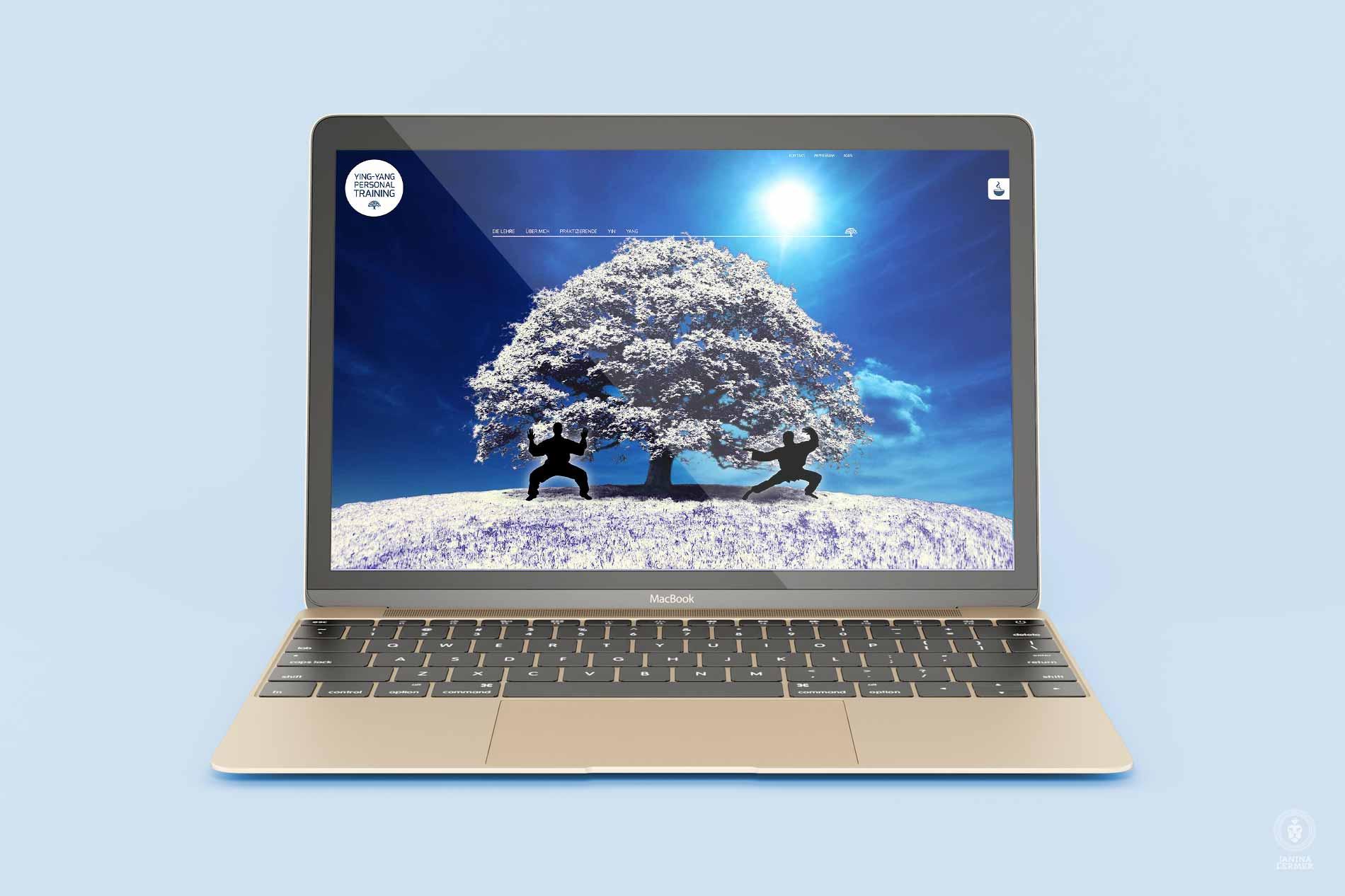 Webseitenkonzept-Webseitengestaltung-Webdesign-Yin-Yang-PersonalTrainer-Ulrich-Lampert-Laptop-Winter