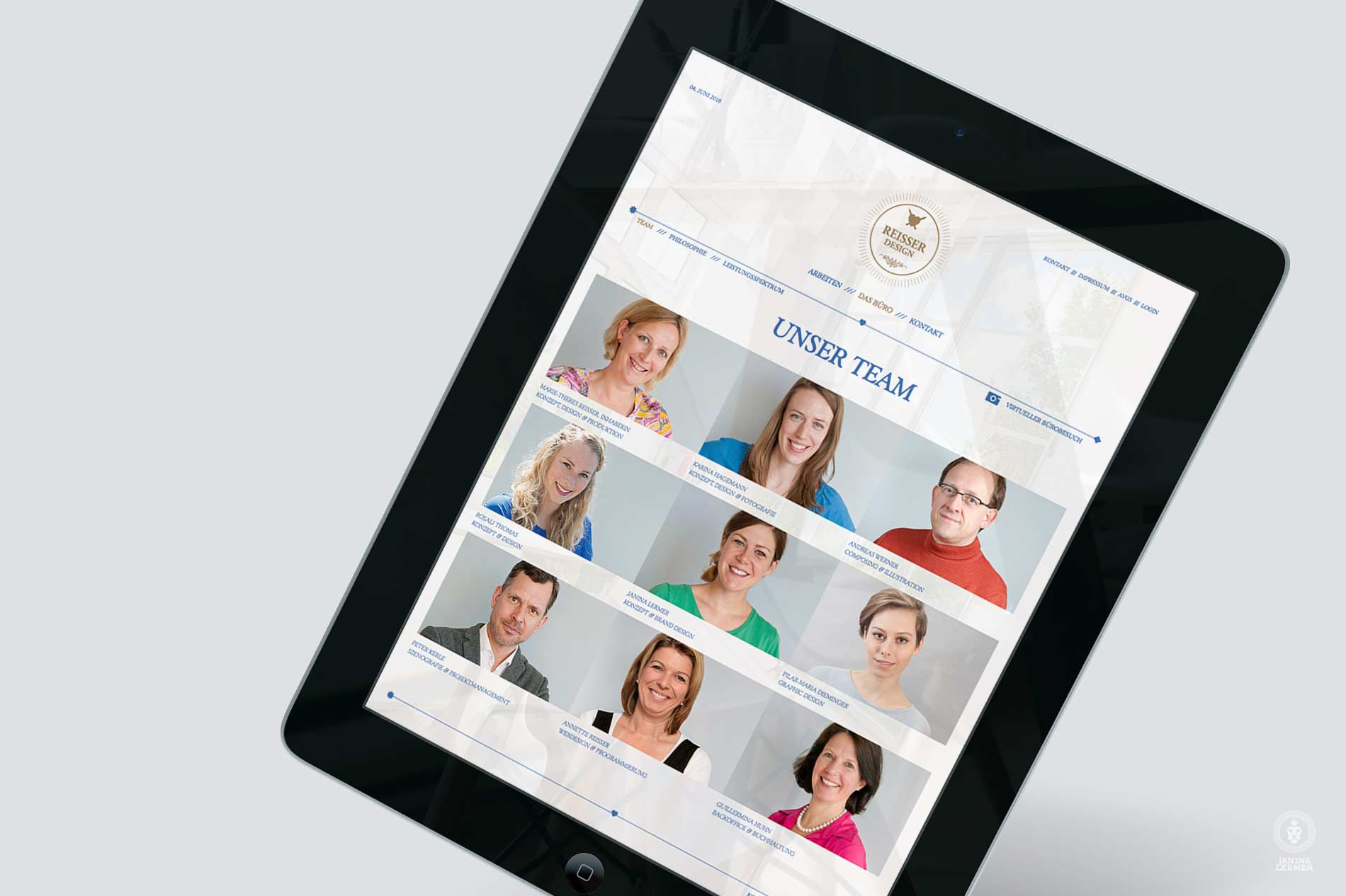 Janina-Lermer-Webseitenkonzept-Webseitengestaltung-Webdesign-Reisserdesign-Ipad-Team
